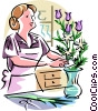 Vector Clipart picture  of a Florist making bouquet