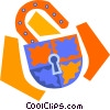 key lock Vector Clipart graphic