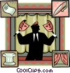 Vector Clip Art image  of a man with theatre masks