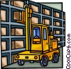 forklift in a warehouse Vector Clip Art graphic
