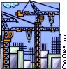 Vector Clip Art picture  of a Construction cranes