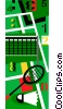 Vector Clip Art image  of a Badminton court with racket