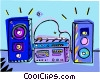 Vector Clipart illustration  of a stereo system