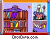 bookcase with oil lamp and writing quill Vector Clip Art picture