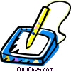 Vector Clipart illustration  of a digitizing tablet with pen