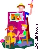 man performing puppet show Vector Clipart image