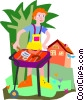Vector Clipart image  of a man having a bbq