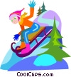 Vector Clipart picture  of a tobogganing