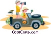 People in a jeep on safari Vector Clipart graphic