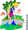 Vector Clipart image  of a girl rollerblading in the park