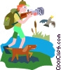 Vector Clip Art picture  of a man with dog taking picture of