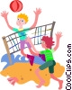 Vector Clipart illustration  of a People playing volleyball