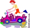 Child playing on scooter Vector Clipart image