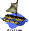 Vector Clip Art graphic  of a canoe with sail and outrigger
