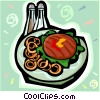 Vector Clip Art image  of a Hamburger and onion rings