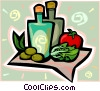 cooking oils and fruit Vector Clip Art picture