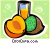 Vector Clip Art graphic  of a Fruits and juice