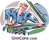 Vector Clipart image  of a Mechanic under the hood