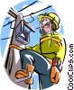 Vector Clip Art image  of a Telephone repairman