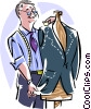 Vector Clip Art graphic  of a Tailor measuring suit