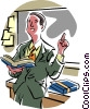 Vector Clipart illustration  of a Teacher giving lesson in class
