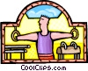 Vector Clipart graphic  of a Gymnast performing on the