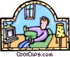 Vector Clip Art picture  of a watching TV