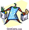 Vector Clip Art image  of a Woman grocery shopping
