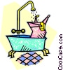 Vector Clipart graphic  of a taking a bath