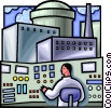 Vector Clip Art image  of a Nuclear power plant control