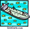 Oil tanker with fish in ocean Vector Clip Art picture
