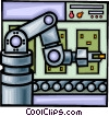 Assembly line, robotic arm Vector Clip Art graphic