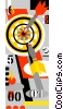 Vector Clip Art image  of a Dartboard and darts