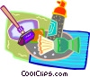 Vector Clip Art image  of a shaving items