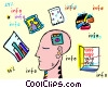 human brain as a computer diskette Vector Clipart illustration