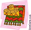 Mexican blanket with hat Vector Clip Art picture