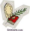 Vector Clip Art image  of a Bible with palm branch and