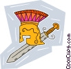 Roman warrior's helmet and sword Vector Clipart image