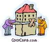Vector Clip Art graphic  of a house renovators