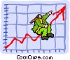 riding the chart to the top Vector Clipart image