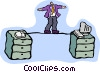 Vector Clip Art image  of a tightrope walker