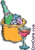 ice bucket with champagne Vector Clipart graphic