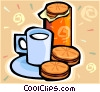Vector Clipart picture  of a milk and cookies