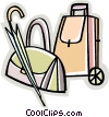luggage with umbrella Vector Clip Art picture