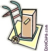 Vector Clip Art image  of a box on dolly