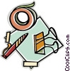 tape, pen, alligator clip Vector Clip Art image
