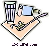 tooth brush, toothpaste Vector Clip Art image