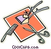 Vector Clip Art graphic  of a hair cutting tools