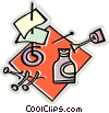 liquid paper, tacks, office supplies Vector Clip Art picture