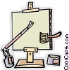 canvass with paint brushes and paint Vector Clip Art graphic